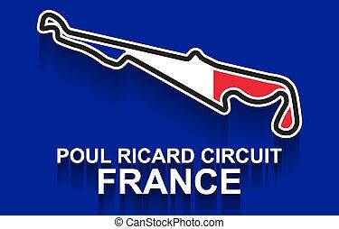 bandera de la raza, o, francia, pista, prix, f1, 1, magnífico, fórmula