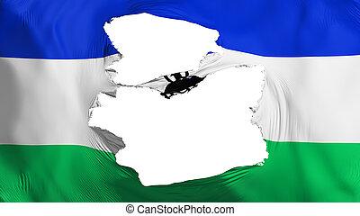 bandera de lesotho, andrajoso