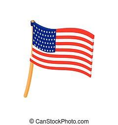 bandera de los e.e.u.u, icono, en, caricatura, estilo