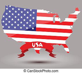 bandera de los e.e.u.u, mapa