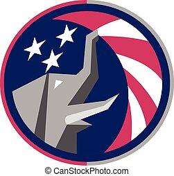 bandera de los e.e.u.u, retro, elefante, círculo, republicano, mascota
