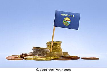 bandera, de, montana, en, un, pila, de, coins.(series)