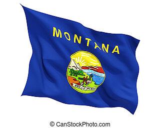 bandera, de, montana, nosotros, estado, ondear, bandera