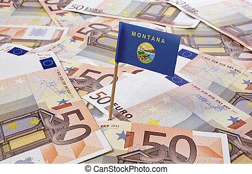 bandera, de, montana, pega, en, 50, euro, banknotes.(series)