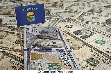 bandera, de, montana, pega, en, vario, norteamericano, banknotes.(series)