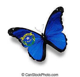 bandera de nevada, blanco, aislado, mariposa
