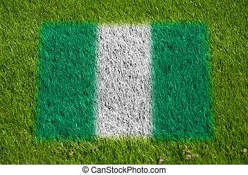 bandera, de, nigeria, en, pasto o césped