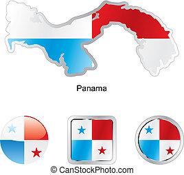 bandera, de, panamá, en, mapa, y, tela, botones, formas