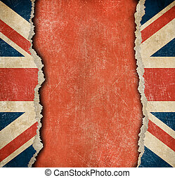 bandera de papel, rasgado, grunge, británico
