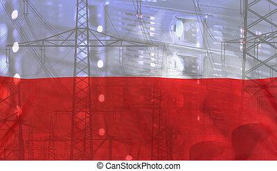 bandera de polonia, tecnología, ambiente, concepto