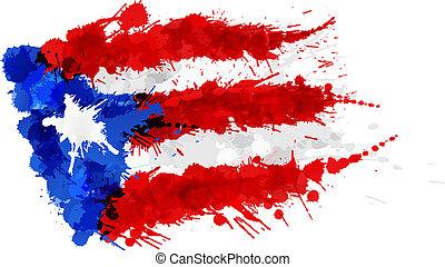 bandera, de, puerto rico, hecho, de, colorido, salpicaduras