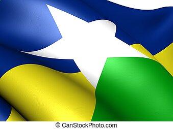 bandera, de, rondonia., cierre, arriba.