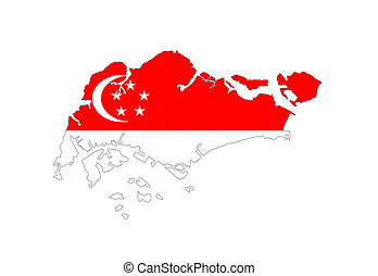 bandera de singapur, mapa