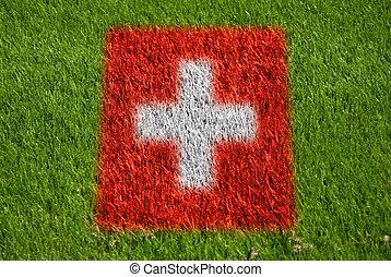 bandera, de, suiza, en, pasto o césped