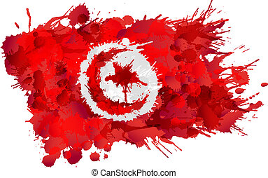 bandera de tunisia, hecho, salpicaduras, colorido