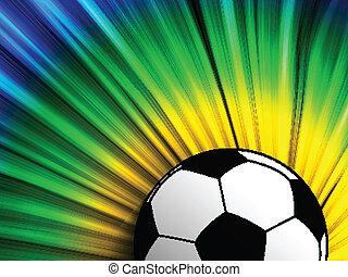 bandera del brasil, con, pelota del fútbol, plano de fondo