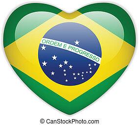 bandera del brasil, corazón, brillante, botón