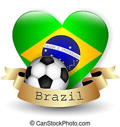 bandera del brasil, corazón, y, pelota del fútbol