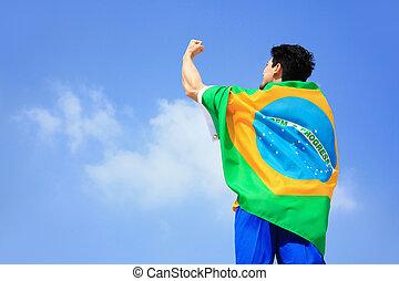 bandera del brasil, excitado, tenencia, hombre