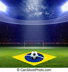 bandera del brasil, futbol, staduim