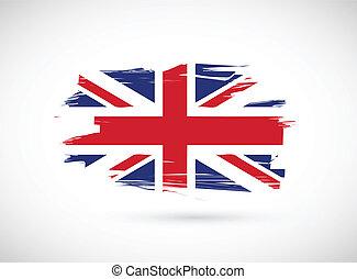 bandera, diseño, británico, ilustración, tinta