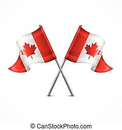 bandera, dos, canadiense