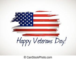 bandera, dzień weteranów, ilustracja, szczęśliwy