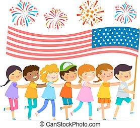 bandera, dzieciaki, amerykanka