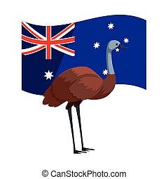 bandera, emu, plano de fondo, australiano