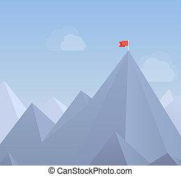 bandera, en, un, pico de la montaña, plano, ilustración