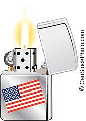 bandera, encendedor, estados unidos de américa