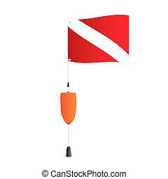 bandera, escafandra autónoma, ilustración