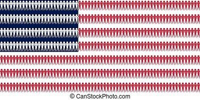 bandera, estados unidos de américa, como, sociedad, política, y, gente, concepto, norteamericano, bandera nacional, vector, plano de fondo