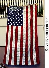 bandera estadounidense, ahorcadura, de, oficina, pared