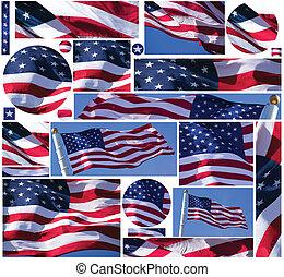 bandera estadounidense, botones, y, banderas