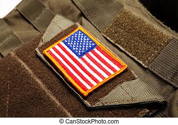 bandera estadounidense, chaleco, táctico