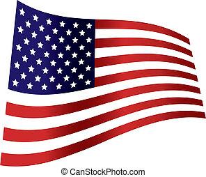 bandera estadounidense, día, independencia, onda