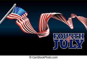 bandera estadounidense, diseño, cuarto, julio, día,...