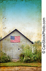 bandera estadounidense, en, cobertizo, con, grunge, plano de fondo