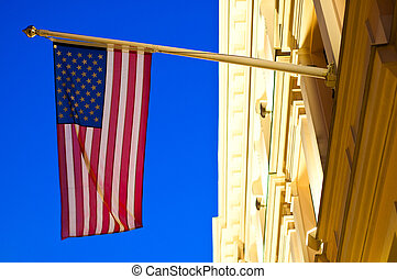 bandera estadounidense, en, edificio