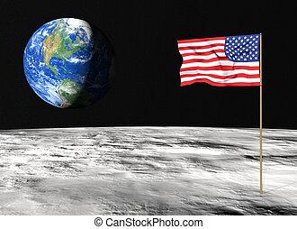 bandera estadounidense, en, la luna