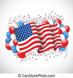bandera estadounidense, globo, colorido