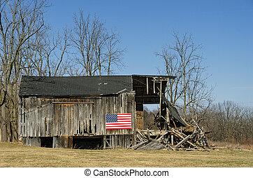 bandera estadounidense, granero