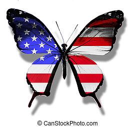 bandera estadounidense, mariposa, aislado, blanco