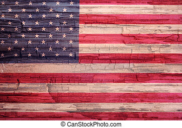 bandera estadounidense, pintado, en, viejo, madera, plano de fondo, collage