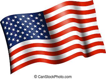 bandera estadounidense, plano, ondulación