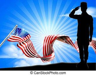 bandera estadounidense, soldado, saludar, plano de fondo