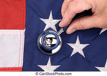 bandera estadounidense, y, estetoscopio