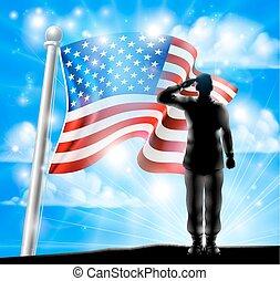bandera estadounidense, y, silueta, soldado, saludar