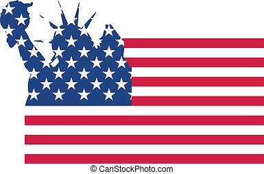 bandera, estatua, libertad